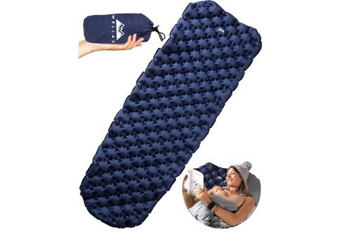 WELLAX Ultralight Air Sleeping Pad - Inflatable Camping Mat for Backpacking, Traveling and Hiking Air Cell Design