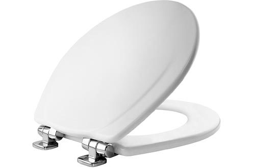MAYFAIR Toilet Seat with Chrome Hinges will Slow Close and Never Come Loose