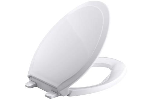 KOHLER K-4734-0 Rutledge Elongated White Toilet Seat, with Grip-Tight Bumpers