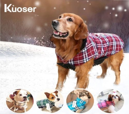 1.Kuoser Cozy Waterproof Windproof Reversible British Style Plaid Dog Vest Winter Coat Warm Dog Apparel Cold Weather Dog Jacket XXS-4XL