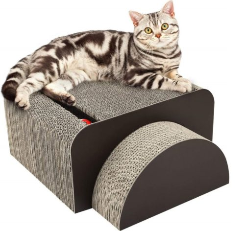 10.PAWABOO Cat Scratcher Lounge Bed - Premium Recycled Corrugated Cardboard Scratching Post Toy Pad Lounge Square Round Bed with Catnip for Cat Kitty Kitten