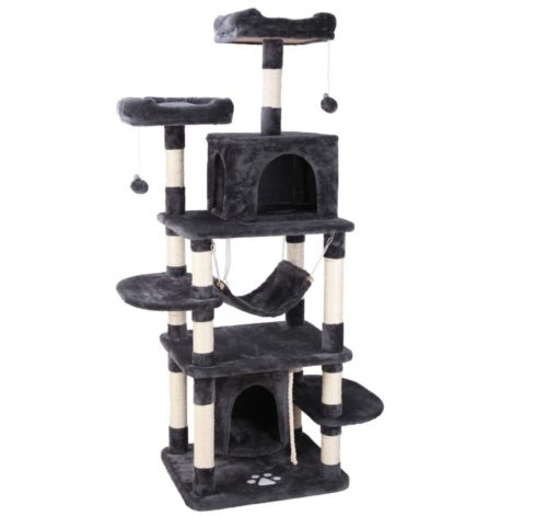 10.POTBY 67 Multi-Level Cat Tree Play House Climber Activity Centre Tower Stand Furniture, with Scratching Posts, Hammock,