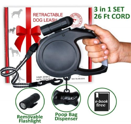 10.Retractable Dog Leash 26 Foot Extra Long Cord - Dog Leash Retractable for Medium Large Breed 110 lb - Best Heavy Duty Retractable Leash with LED Light and Bag Dispenser