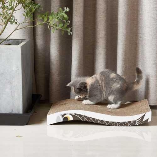 11.Coching Cat Scratcher Cardboard Curved Shape Scratch Pad with Unique Three Different Scratch Textures Design Durable Scratching