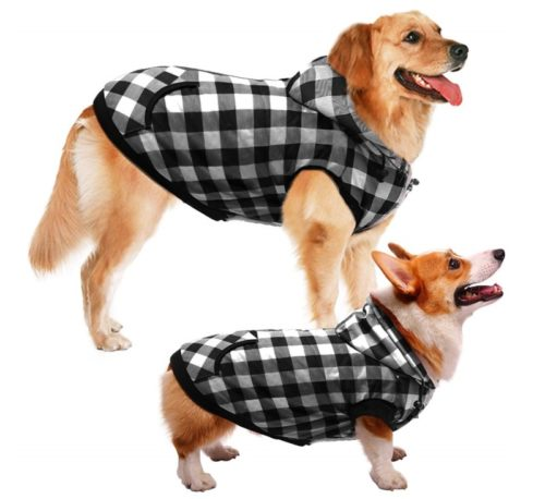 12.ASENKU Dog Winter Coat Thicker Fleece Dog Hoodie Jacket British Plaid Pet Warm Outfit with Removable Hat Windproof Vest for Small Medium Large Dogs