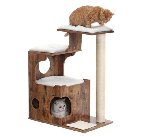 12.FEANDREA 34.6 inches Cat Tree, Medium Cat Tower with 3 Beds and House, Cat Condo, Sisal Post and Washable Faux Fur, Vintage, Rustic Brown and White UPCT70HW