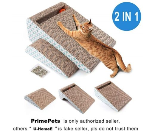 12.PrimePets Cat Scratcher Cardboard, Removable Cat Scratching Pad with Ball, 2-in-1 Corrugated Cat Scratch Lounge Sofa Refill