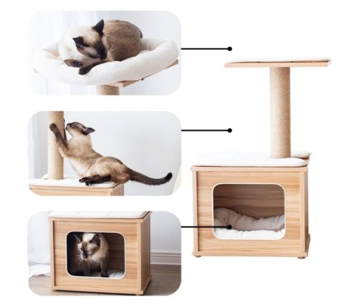 13.Catry Cat Tree Tower with Kitten Condo Paper Rope Covered Scratch Post Activity Center for Climbing Relaxing and Playing