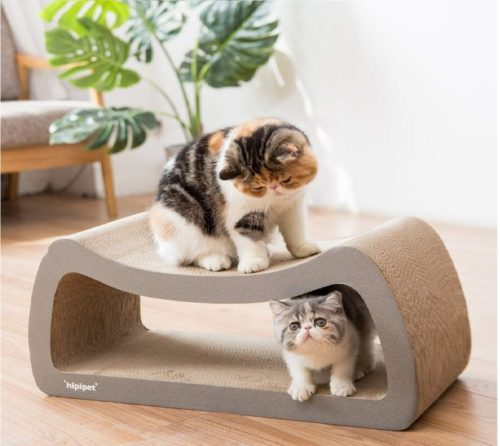 13.HIPIPET Cat Scratcher Cardboard Cat Scratcher Pad Scratching Posts 3-in-1 Lounge Bed for Large Cats and Little Kitten