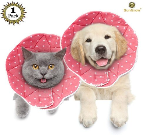 2.SunGrow Comfy Cone, Neck Circumference, Post Surgery Stress-Free Recovery Collar, Easy to Wash and Air Dry, Adjustable Loop Type Fasteners, for Cats and Dogs