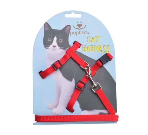 4.PUPTECK Adjustable Cat Harness Nylon Strap Collar with Leash