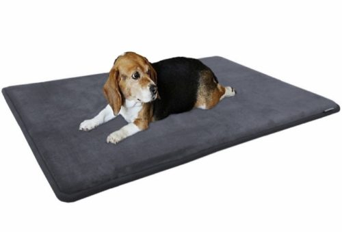 5.Dogbed4less Premium Gel-Infused Memory Foam Pet Mat with Velour Fleece Topper for Medium to Extra Large Dogs - Anti-Slip Waterproof Bottom