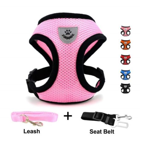 6.INVENHO Mesh Harness with Padded Vest for Puppy and Cats No Choke Design Ventilation Gift with One Leash & Seat Belt