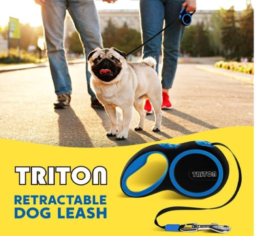 6.Retractable Dog Leash - 16 Foot Reinforced Nylon with Collapsible Water Bowl - 1-Touch Locking System