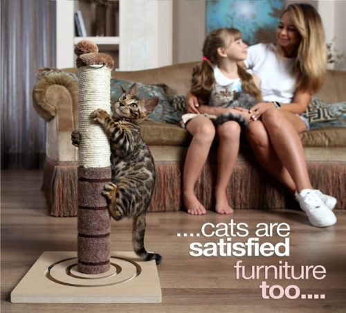 7.4 Paws Stuff Tall Cat Scratching Post Cat Interactive Toys - Cat Scratch Post Cats Kittens - Plush Sisal Scratch Pole Cat Scratcher