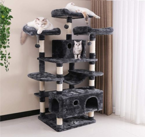 7.BEWISHOME Large Cat Tree Condo with Sisal Scratching Posts Perches Houses Hammock, Cat Tower Furniture Kitty Activity Center Kitten Play House MMJ03