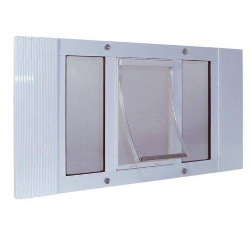 7.Ideal Pet Products Aluminum Sash Window Dog Doors, Adjustable to Fit Window Widths