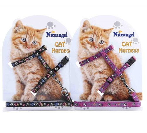8.Niteangel 2 Pack of Adjustable Cat Harness & Leash Set