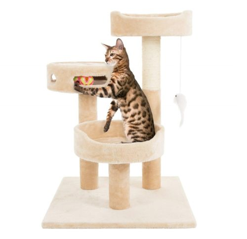 8.PETMAKER Cat Tree 3 Tier 2 Hanging Toys A 3 Ball Play Area and Scratching Post, 27.5, Tan