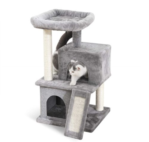 9.PAWZ Road Cat Tree Luxury Cat Tower with Double Condos, Spacious Perch, Fully Wrapped Scratching Sisal Posts and Replaceable Dangling Balls