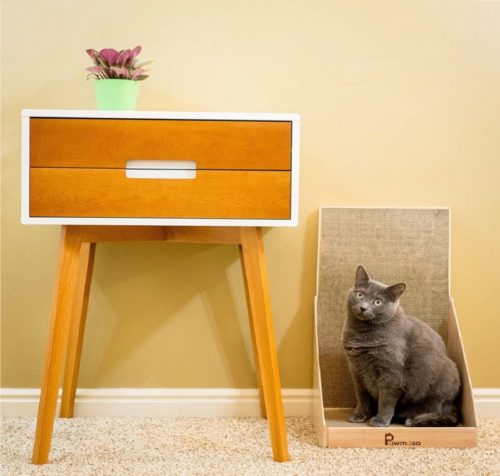 9.Pawmosa Cat Scratcher, Vertical Cardboard Cats Scratching Post, Lounge Bed as Furniture Protector and Home Décor Include Free