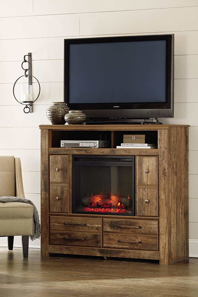 Ashley Furniture Signature Design - Small Electric Fireplace Insert & TV stand
