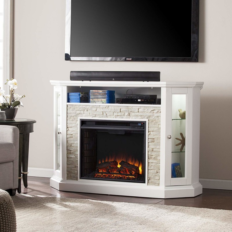 Southern Enterprises Rollins Corner Electric Fireplace ​TV stand