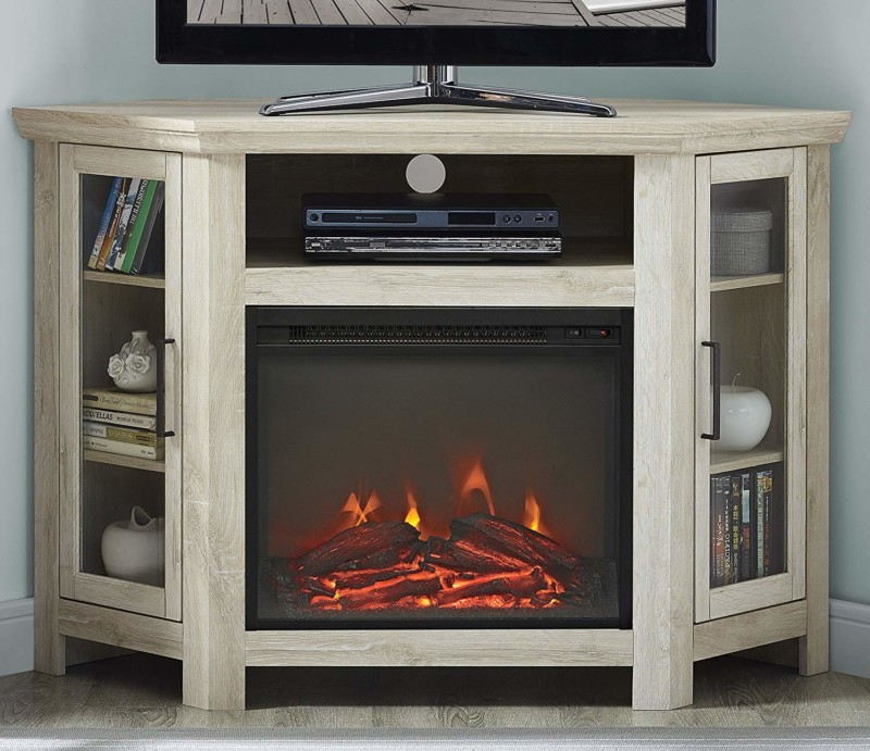 WE Furniture Wood Corner Fireplace TV Stand Console