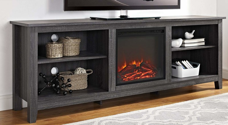 "WE Furniture 70"" Wood Media TV Stand Console with Fireplace"