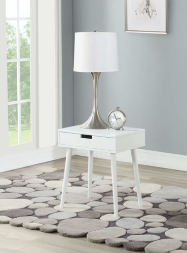 White Color Hardwood End Side Table