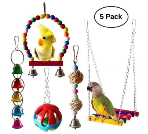 1.BWOGUE 5pcs Bird Parrot Toys Hanging Bell Pet Bird Cage Hammock Swing Toy Hanging Toy for Small Parakeets Cockatiels, Conures, Macaws, Parrots, Love Birds, Finches