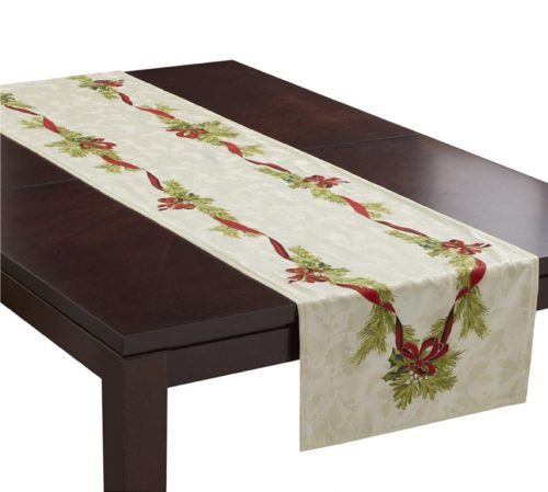 1.Benson Mills Christmas Ribbons Engineered Printed Fabric Table Runner, 16x 90