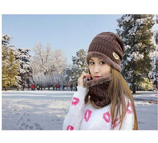 1.HINDAWI Womens Beanie Winter Hat Scarf Set Slouchy Warm Snow Knit Skull Cap