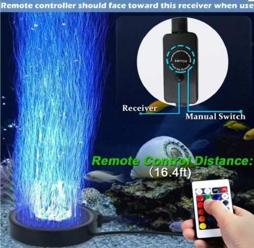 10.Aquarium Bubble LED Lights RGBW, TOPBRY Remote Controlled Air Stone Disk, with 16 Color Changing, 4 Lighting Effects for Fish Tank