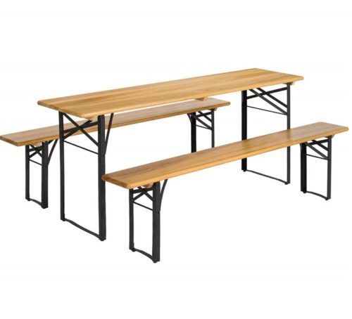 10.Best Choice Products VD-2837OP Products 3-Piece Portable Folding Picnic Table Set w Wooden Tabletop, Brown Black