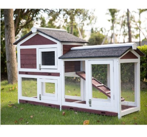 10.Kinbor Outdoor 60 Wooden Bunny Hutch Hen Duck Coop Large House Removable Tray & Ramp & Run Area