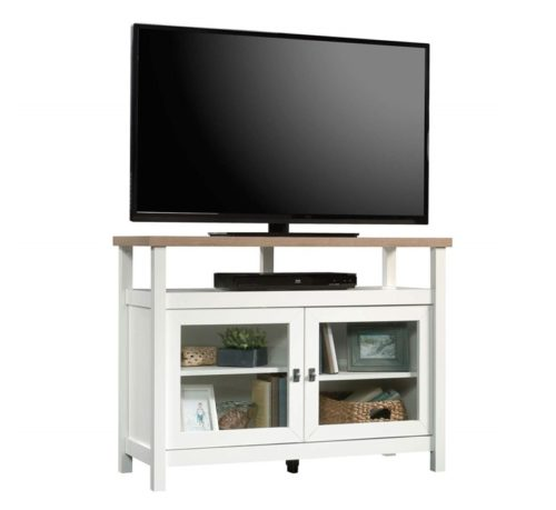 10.Sauder Cottage Road Entertainment Stand, For TV's up to 42, Soft White finish
