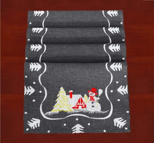 10.Simhomsen Decorative Dark Gray Snowman Table Place Mats for Christmas Holidays (12 × 18 Inch Set of 4)