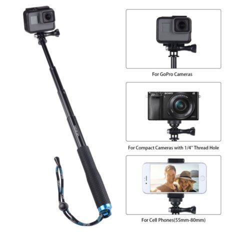 10.Vicdozia Extension Stick, 28.5'' Hand Grip Extendable Monopod Adjustable Pole Waterproof Handle Compatible with GoPro Hero 8 7 6 5