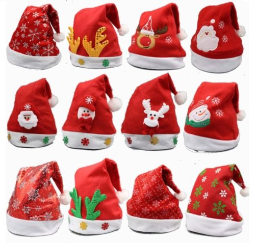 10.YAMULA 8 Pack Christmas Hat for Childrens and Adults, Non-Woven Pleuche New Hats for Celebrations and Recreation