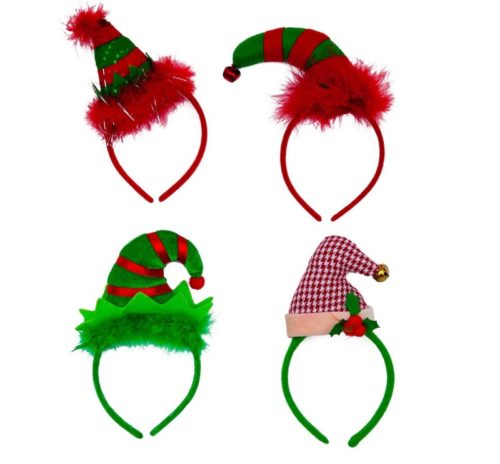 11.Christmas Headbands - Set of 4 Elves Party Hats Christmas Elf Headbands