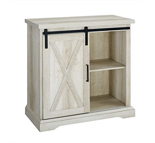 11.Pemberly Row 32 Farmhouse Barn Door Buffet TV Stand in Rustic White Oak
