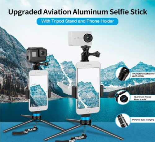 11.TELESIN 35.5 Selfie Stick Monopod for GoPro, Selfie Pole with Strong Tripod Mount Adapter, Cellphone and Digital Compacts for Hero 8 7 6 5 4