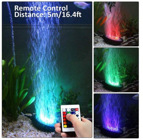 11.heneng Aquarium Air Stone RGB LED Light 16 Color Bubble Diffuser Disk 4 Dynamic Lights for Fish Tank