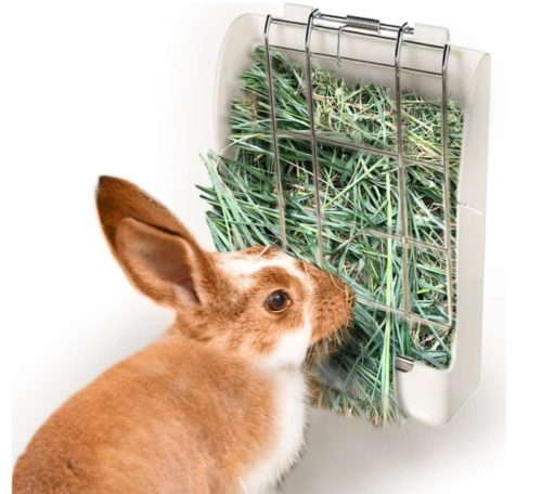 11.zswell Hay Feeder Rack - Hay Feeder Manger Rack for Rabbit Guinea Pig Chinchilla and Other Small Animals (White)