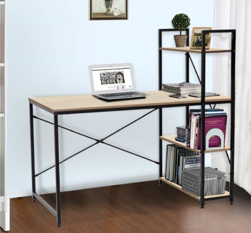 12.Bestier Computer Desk with Shelves,Writing Desk Study Table Office Desk with Shelves Workstation Home Office Desk with Bookshelf for Study Room, Bedroom, Living Room, Office Room Oak