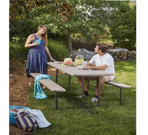 12.COSCO 87902GRY1E Outdoor Living 6 ft. Folding Picnic Table, Gray Wood Grain