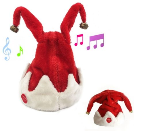 12.Christmas Singing Dancing Santa Hat Red Santa Cap with Plush Trim