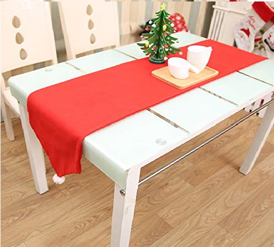 12.Christmas Table Runners Washable Classic Christmas Table Lines with Snow Balls Decor for Xmas Holiday Season Home Table Christmas Decoration 14x 70 Inch