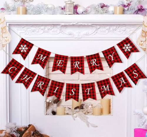 12.Merry Christmas Banners Party Garland Bunting Sign for Holiday Party Decoration Favors (Style B)